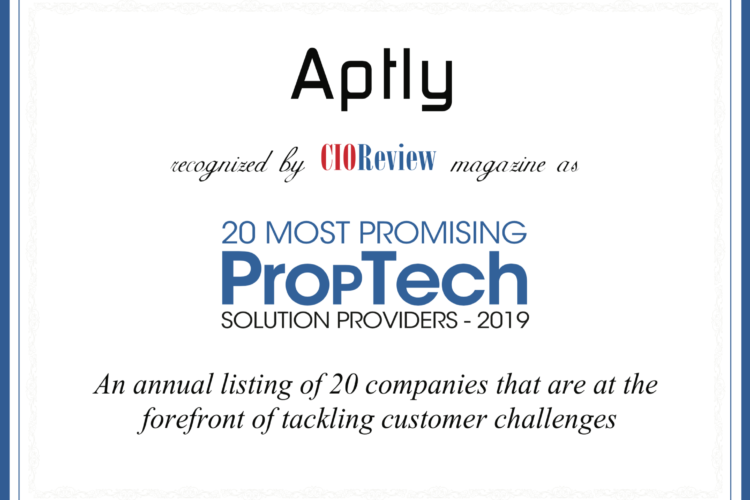 Aptly Named Top 20 Most Promising PropTech Solutions for 2019 by CIOReview